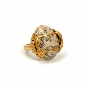 Newsprint Cocktail Ring, Brass