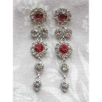 Large Daisy Red Crystal Large Drop Earrings - Jewellery by ...