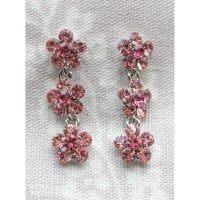 Small Daisy Pink Crystal 3 Drop Earrings