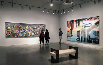 Installation view with works by Constance Mallinson and Yvette Gellis
