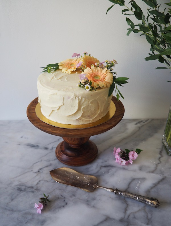 A gorgeous spice cake with nectarine curd and goat cheese frosting