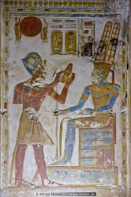 Photo of Basrelief with Egyptian god Amun Temple of Seti