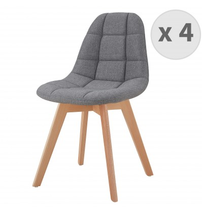 chaise scandinave en lin stella rembourree confortable lot de 4