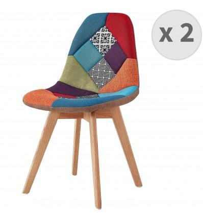 chaise multicolore patchwork stella lot de 2