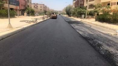 صورة استكمال العمل  بشارع ساطع النعماني بالحي الثامن