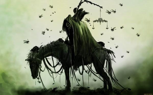 Grim Reaper and Horse Drawings