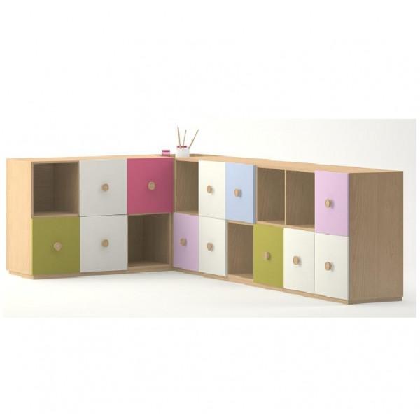 meuble de rangement en angle 18 casiers