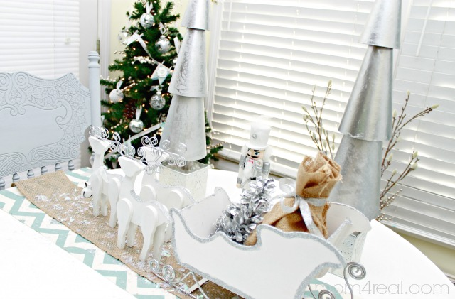 White and Silver Santa Sled