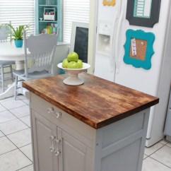 Inexpensive Kitchen Countertops Cupboard Hardware Microwave Cart Turned Island - Mom 4 Real
