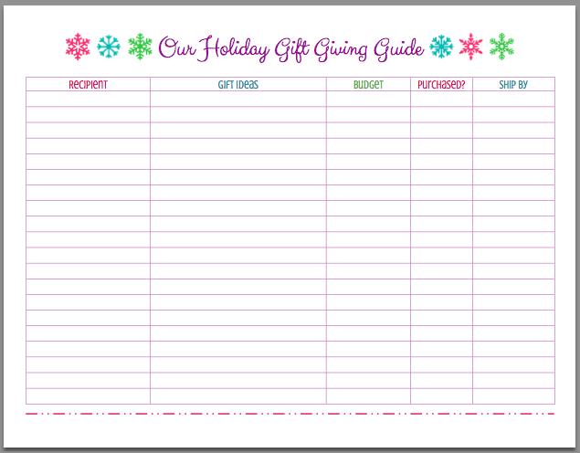 FREE Printable Christmas Holiday Gift Giving Guide Mom 4