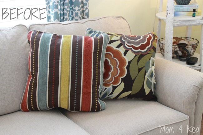 pillow covers for living room design black leather sofa how to make no sew pillows mom 4 real change
