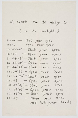 Mieko Shiomi. Event for the Midday (In the Sunlight). 1963. Event Score. Ink on paper, 4 9/16 x 7″ (11.5 x 17.8 cm)
