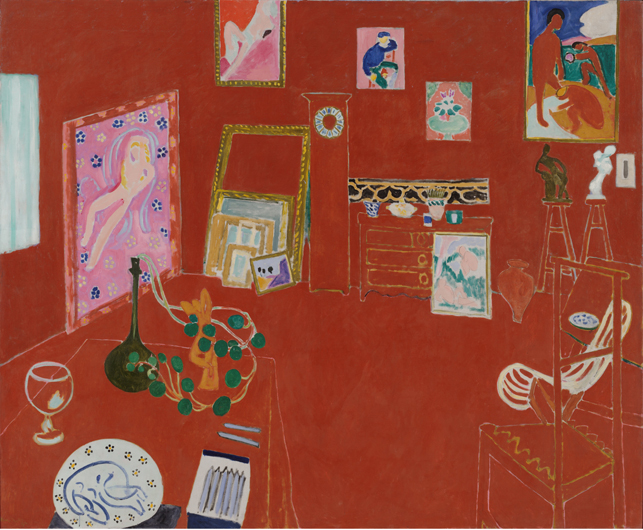 """Henri Matisse. The Red Studio. Issy-les-Moulineaux, fall 1911. Oil on canvas, 71 1/4"""" x 7' 2 1/4"""" (181 x 219.1 cm). The Museum of Modern Art, New York. Mrs. Simon Guggenheim Fund. © 2014 Succession H. Matisse/Artists Rights Society (ARS), New York"""