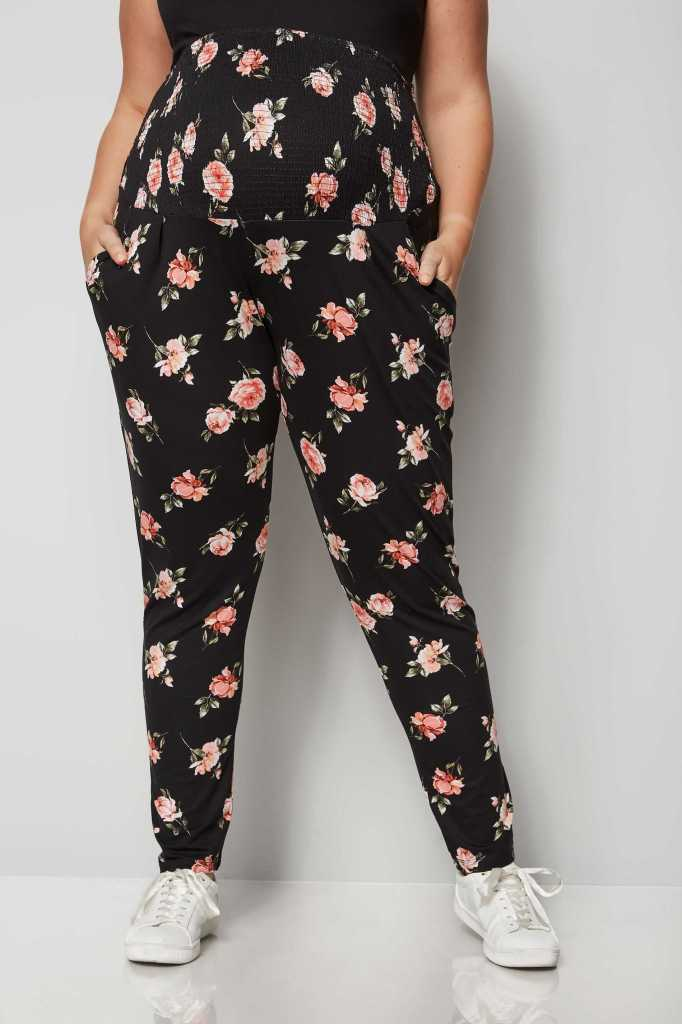 bump it up maternity black floral harem trousers