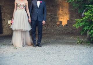 abito da sposa, wedding dress, wedding gown, non white wedding dress, paillettes, bride, sposa, wedding, matrimonio, flowers, fiori, pattern, stampa,