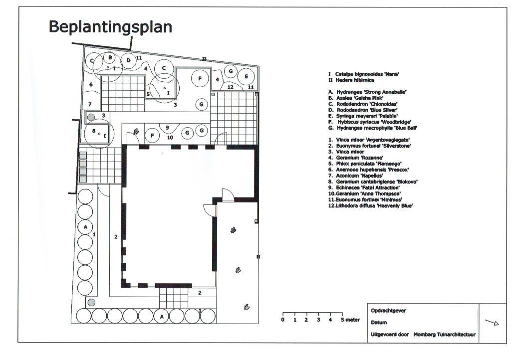 Moderne tuin 2 Beplantingsplan