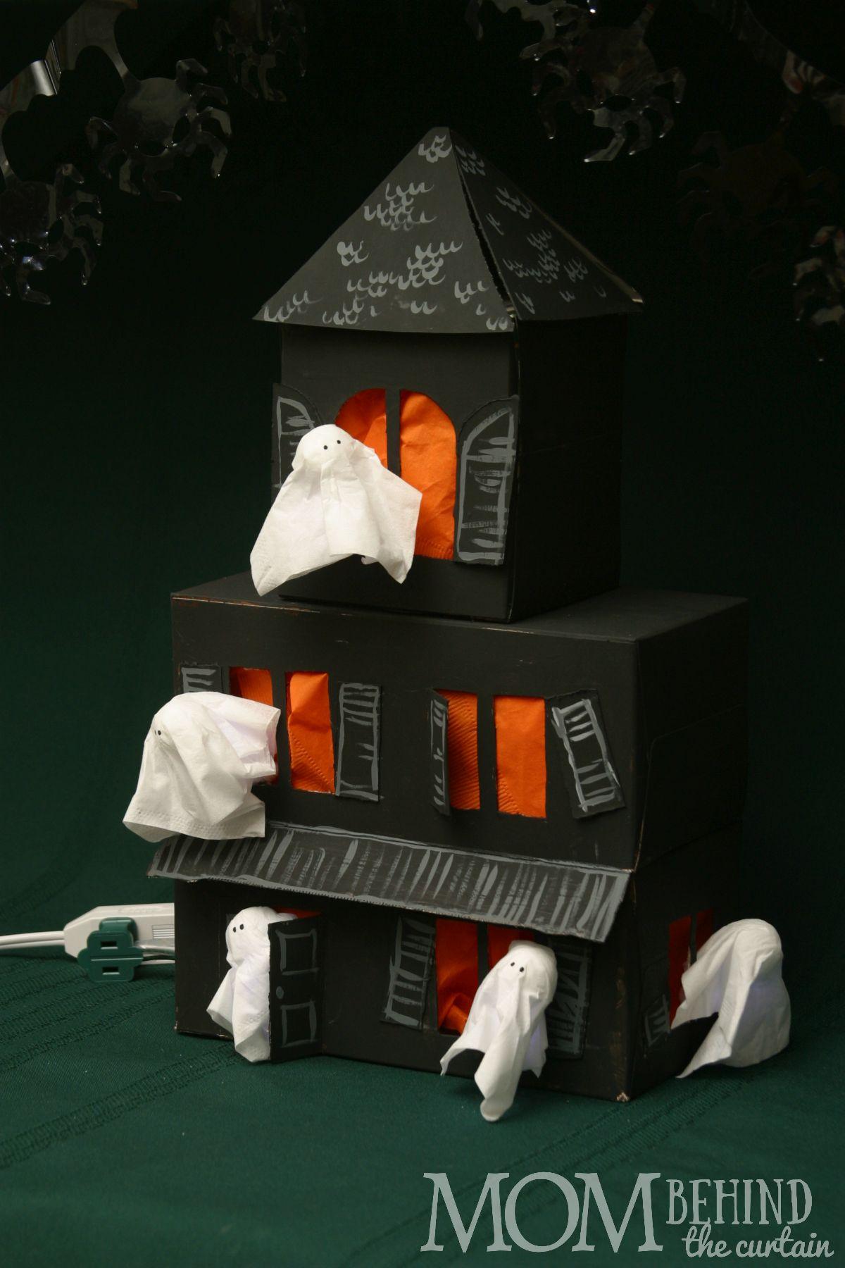 Easy Diy Halloween Craft Tissue Box Haunted House Mom