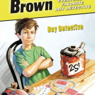 Encyclopedia Brown book cover = boy sitting at desk - on the best books for boys booklist