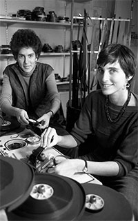 Debra Chasnoff and Kim Klausner in the editing room in the early 1980s. Photo credit: Ellen Shub