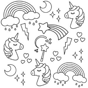 printable unicorn coloring pages # 11