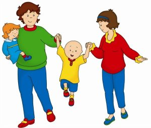 calliou's mom and caillou's dad walking swinging Caillou by the arms while carrying his baby sister