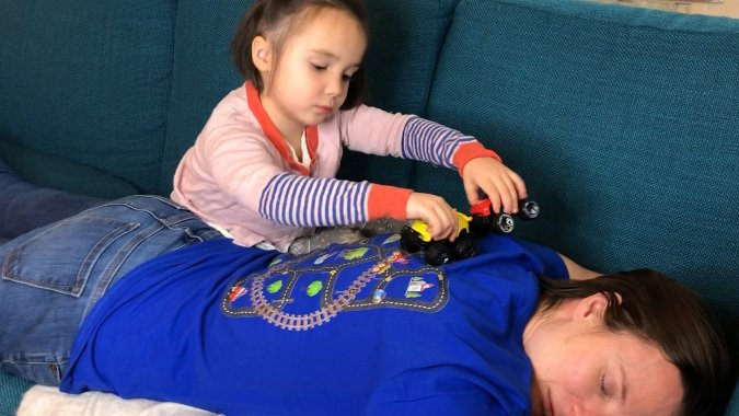 Having your kids massage you is a great snow day activity!