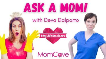 My Lifesuckers Dava Dalporto on Ask a Mom with yellow gloves and funny expression momcavetv