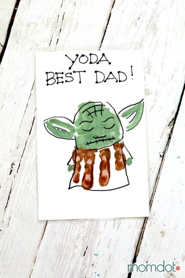 Yoda Best Dad Hand Print Card MomDot