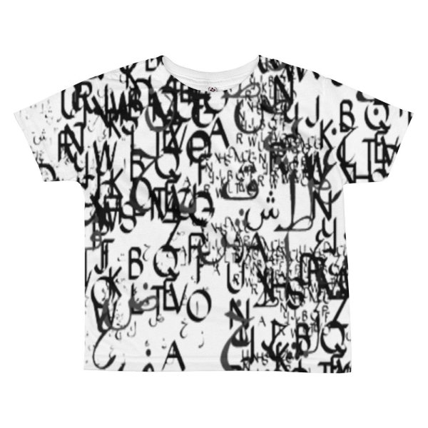 abstract typography -1 -All-over kids sublimation T-shirt-01