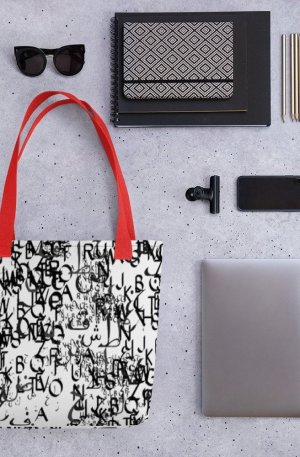 abstract typography -1 -Tote bag-red
