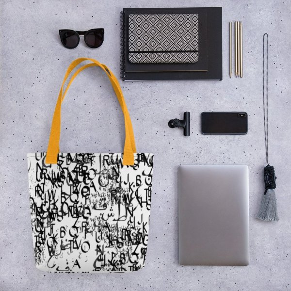 abstract typography -1 -Tote bag-yellow