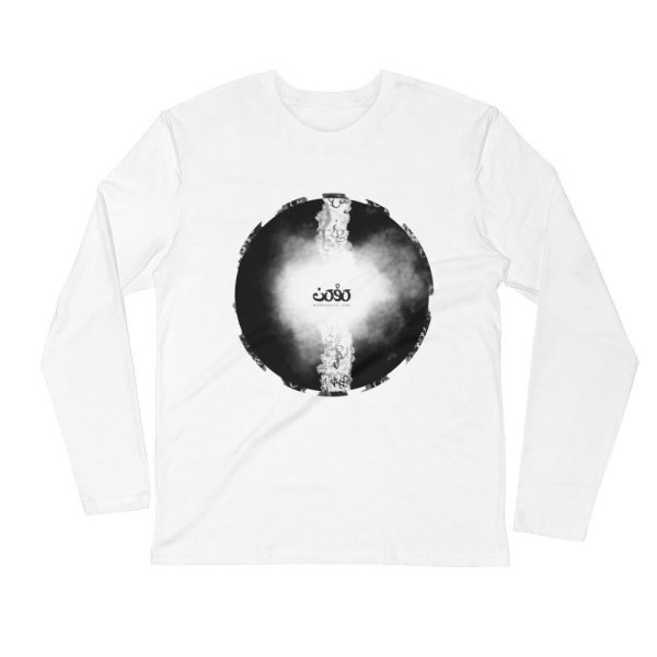 Letters fusion momenarts - Long Sleeve Fitted Crew -white