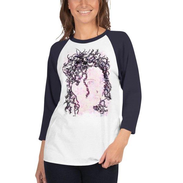 Woman Butterflies – 3/4 sleeve raglan shirt - White/Navy