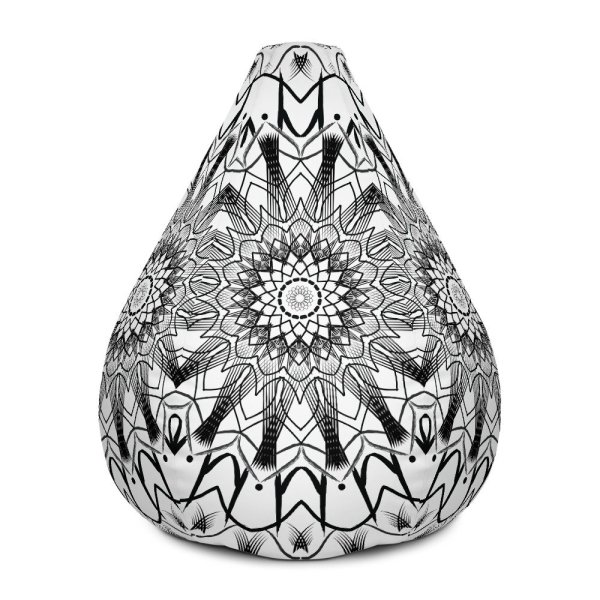 pattern mandala 01 -All-Over Print Bean Bag Chair w-filling-black-on-white-02