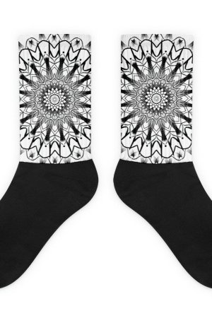 pattern mandala 01 -Socks-black-and-white