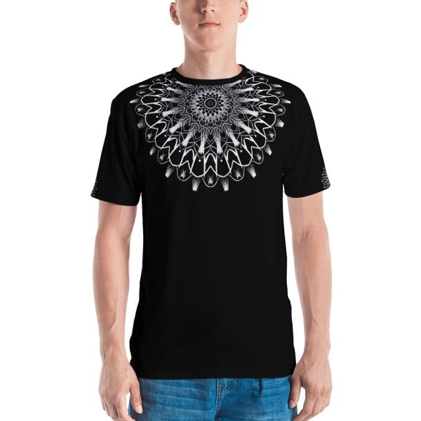pattern mandala 01 -white on black neck -all over print Men's T-shirt-front