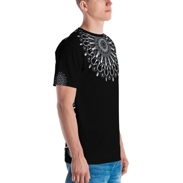 pattern mandala 01 -white on black neck -all over print Men's T-shirt-left