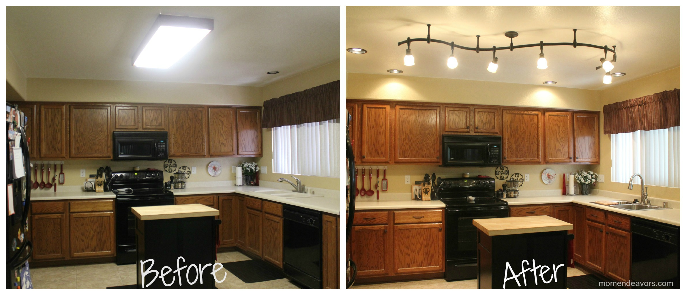 remodel a kitchen blue cabinets for sale mini new lighting makes world of difference it
