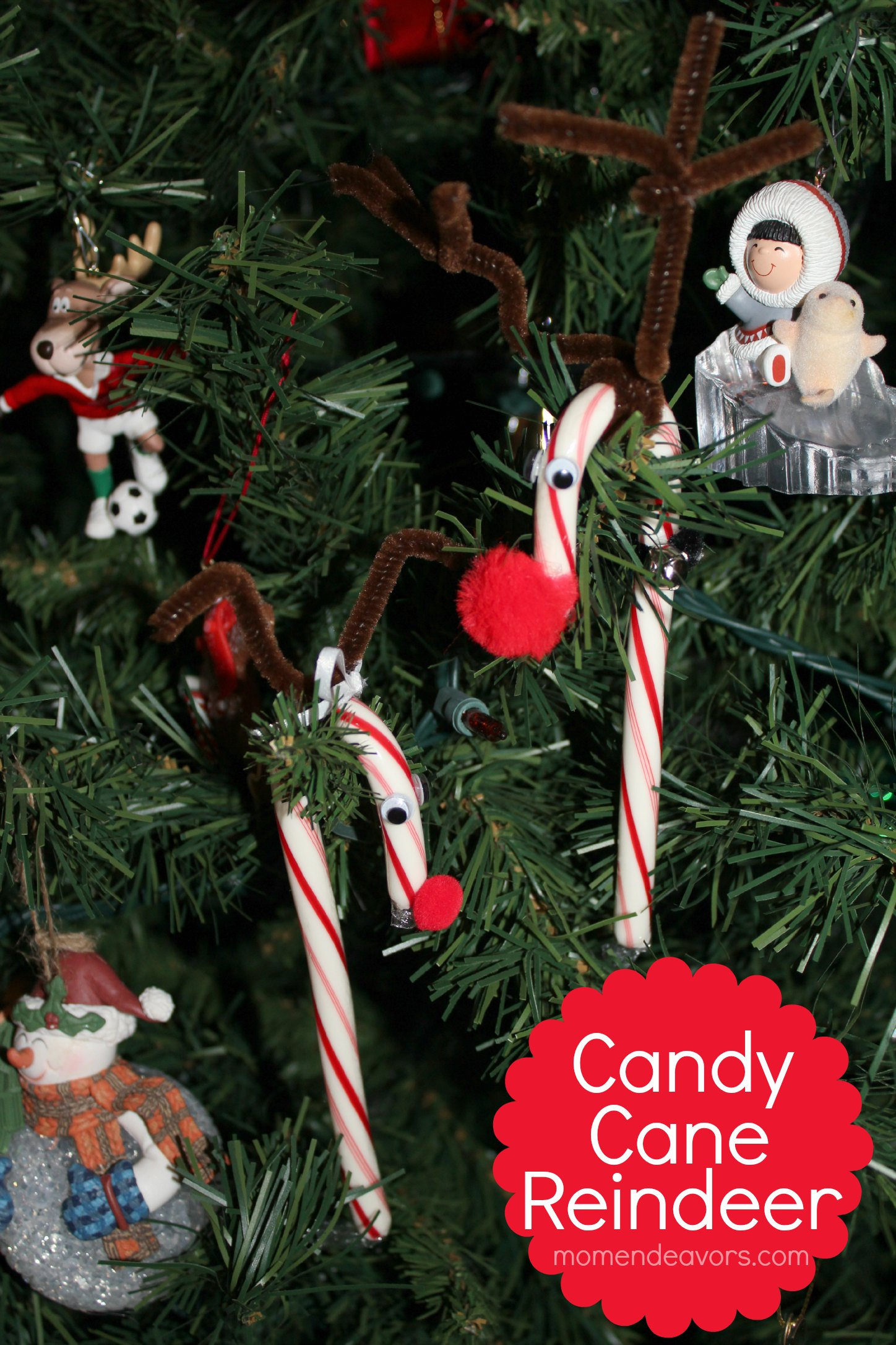 Candy Cane Reindeer Easy Kids Craft Ornament