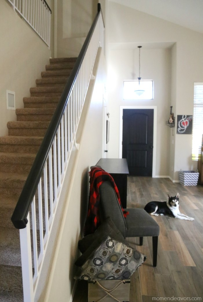 How To Paint An Oak Banister Black Mom Endeavors | Black Banister White Spindles | Black Railing | Wainscoting | White Painted Riser | Benjamin Moore Stair Railing | Baluster Curved Stylish Overview Stair