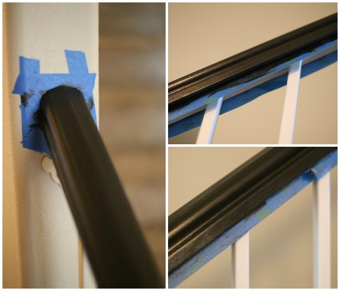 How To Paint An Oak Banister Black Mom Endeavors | Painted Black Stair Railing | Carpet | High Gloss | Wall Both Side | Step | Colour Combination