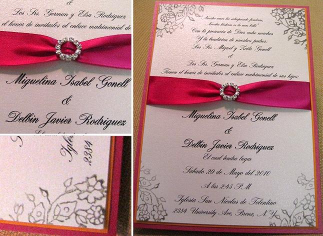 Tropical Tangerine Fuschia Wedding Invitations