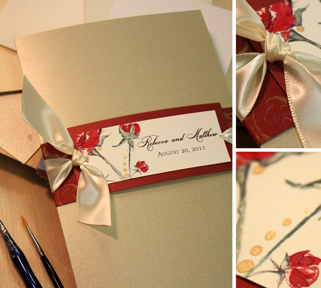 Vintage Pink And Red Flower Gold Wedding Invitation Kits With Navy Blue Envelop