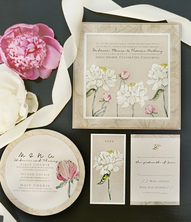 Elegant Peony Vintage Wedding Invitations Ewi137