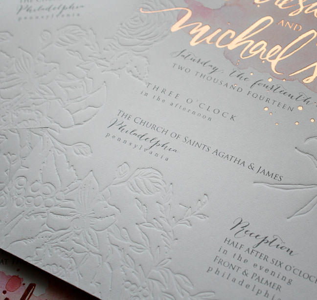 1970s Palm Springs Rose Gold Foil Letterpress Custom Wedding Invitation