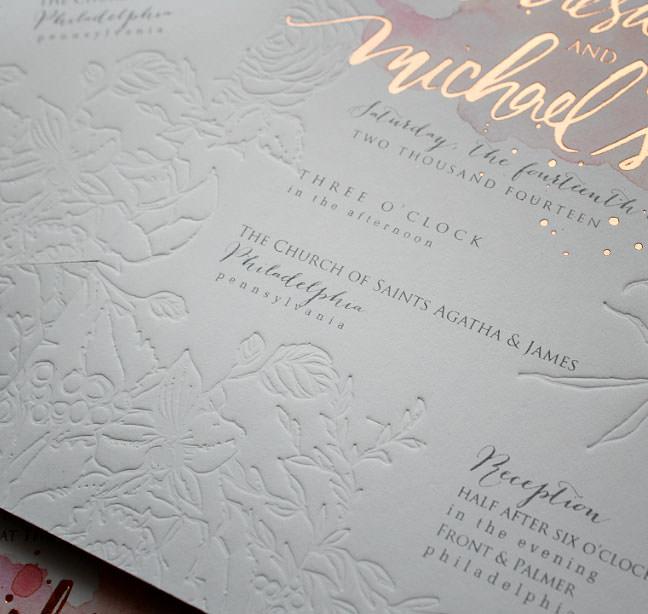 Pin It Rose Gold Foil Wedding Invitations