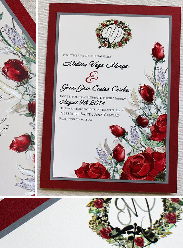 Juan C  Red White and Silver Rose Bouquet Wedding