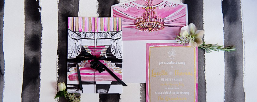 Watercolor Wedding Invites Chandelier