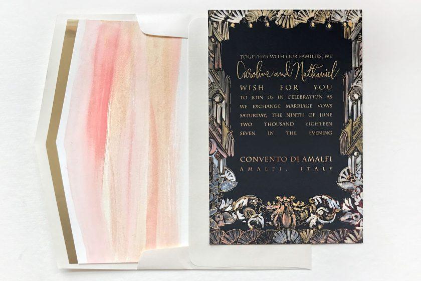 Pin It Art Nouveau Watercolor Foil Wedding Invite