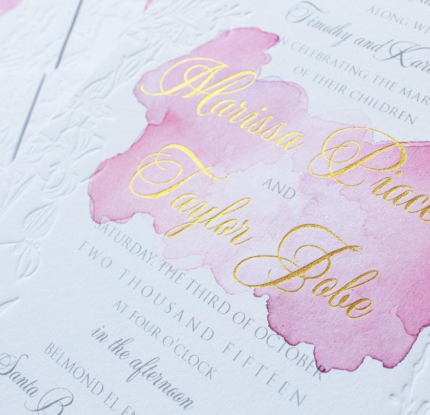 Pin It Watercolor Rose Gold Blind Letterpress Wedding Invitation
